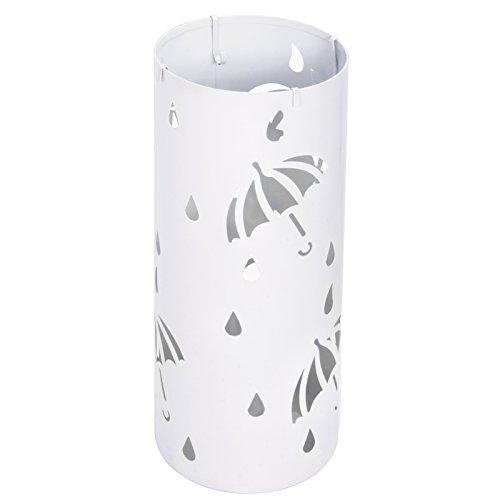 E-starain portaombrelli tondo in ferro con vaschetta e gancini, design moderno in gocce di pioggia porta ombrelli metallico ingresso,bianco,49x20cm