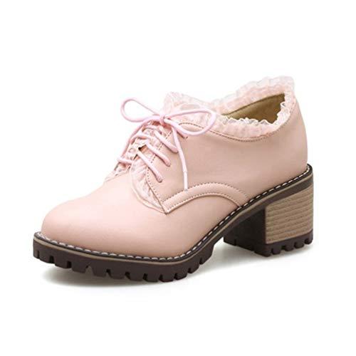 f411f5432f7914 JRenok Femmes Brogue Chaussures Vintage Pompes Printemps Automne Blanc  Coins À Lacets Plateforme À Talons Carrés
