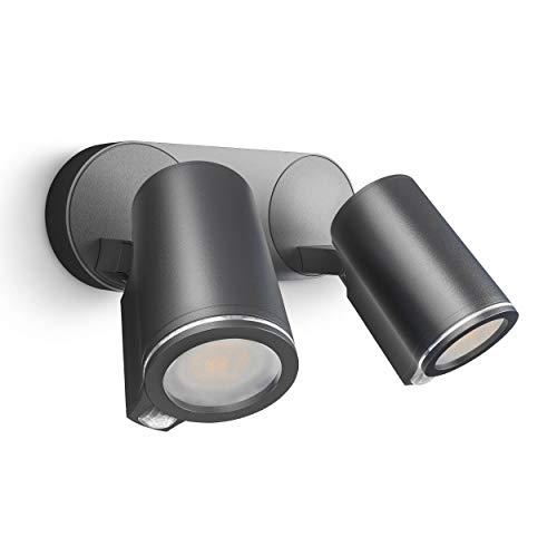 Steinel Strahler Spot Duo S 90° Bewegungsmelder, inkl. LED GU10-Leuchtmittel, per Kabel vernetzbar, Aluminium, 15 W, Anthrazit