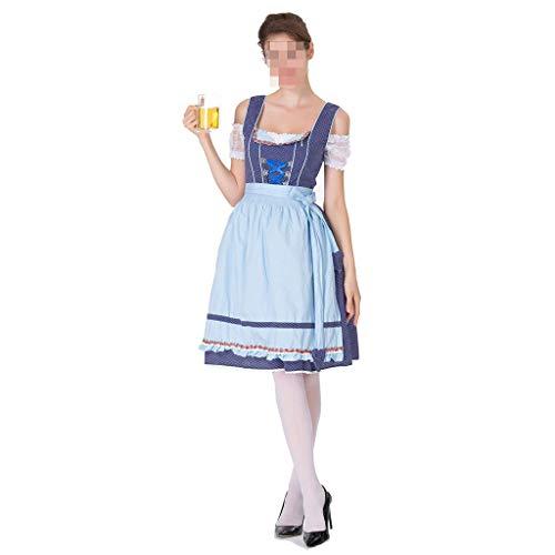 Mädchen Bier Kostüm Zombie - KODH Neue Halloween kostüm XL Cosplay Bier mädchen Kleid schlank bühnenkostüm Maid Off Schulter Sling Kleid (Color : Blue)