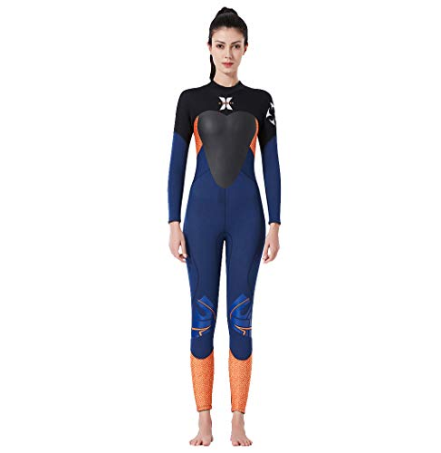 MOTOCO Damen Ganzkörperansicht Badeanzug Overall Wetsuit Surfanzug Lange Ärmel Tauchanzug - Strand Watersport UV Schutz Schwimmanzug (L,Blau)
