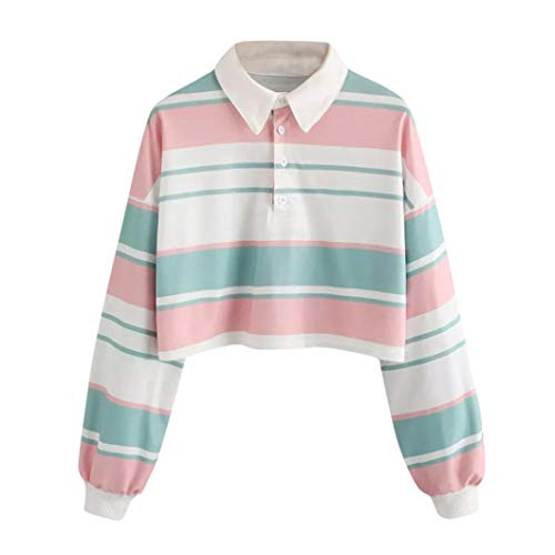 Kapuzenpullover Damen Langarm Crop Tops Pullover -beiläufige Schulter Gestreifte Ernte Pullover Sweatshirt-Spitzen Bluse LianMengMVP