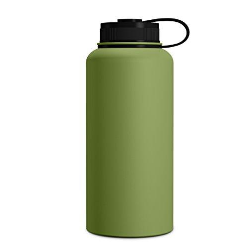 Geo Sport-Wasserflasche, doppelwandig, vakuumisoliert, Edelstahl, auslaufsicher, breite Öffnung, BPA-freier Schraubverschluss, lichtgrün