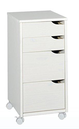 Rollcontainer mit 4 Schubladen Weiß Kiefer-Massiv 66cm, gebraucht gebraucht kaufen  Wird an jeden Ort in Deutschland