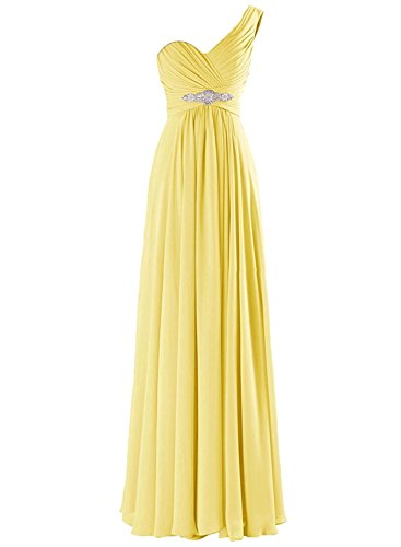 Azbro Women's One Shoulder Pleated Long Prom Dress yellow