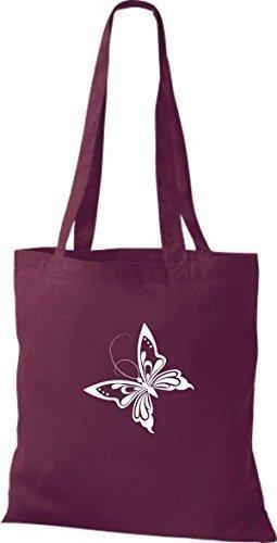 ShirtInStyle Stoffbeutel Schmetterling Butterfly Libelle Käfer Marienkäfer Kult weinrot
