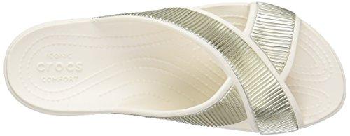 Crocs - Sloane Embellished Xstrap, Sandali infradito Donna Beige (Oyster/Gold)