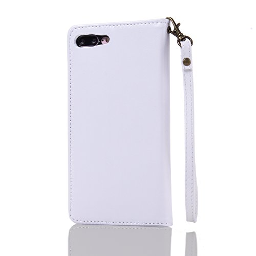 Custodia Apple iPhone 7 Plus, ISAKEN iPhone 7 Plus Flip Cover con Strap, Elegante Sbalzato Embossed Design in Pelle Sintetica Ecopelle PU Case Cover Protettiva Flip Portafoglio Case Cover Protezione C Rose: bianco