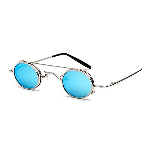 FGRYGF-eyewear2 Sport-Sonnenbrillen, Vintage Sonnenbrillen, Retro Red Lens Steampunk Sunglasses Men Small Size Metal Frame Oval Glasses Double Lens Removable Punk Sun Glasses