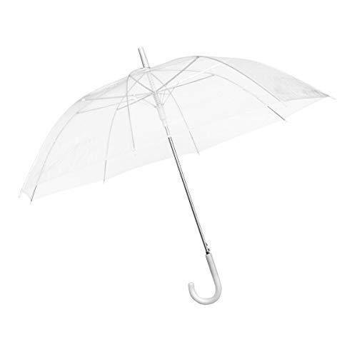 Goods & Gadgets Durchsichtiger Regenschirm transparent, weißer Stockschirm