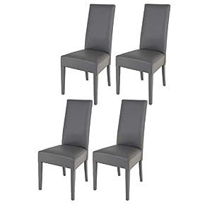Tommychairs - 4er Set Moderne Stühle Luisa für Küche und Esszimmer, Struktur aus lackiertem Buchenholz Farbe Dunkelgrau, gepolstert und mit dunkelgrauem Kunstleder bezogen
