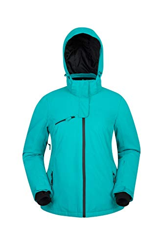 Mountain Warehouse Freezestyle Damen-Skijacke - isolierte Jacke, warme, wasserdichte Regenjacke, atmungsaktive Winterjacke, Abnehmbarer Schneefang - für Snowboarden Türkis DE 38 (EU 40) (Mountain Warehouse Ski-jacke)