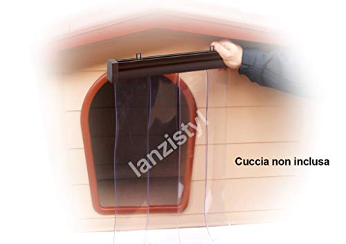 Tendina parafreddo per cuccia in pvc trasparente antipioggia vento antinsetti barriera mobile (60 x 90 h, profilo marrone)