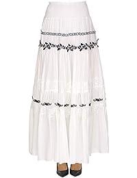 b02f75c04c Pinko Women's MCGLGNN000005006E White Cotton Skirt
