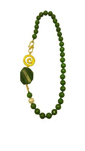 Lange Damen Halskette aus Achat, Perle, goldene Spirale, handgemacht, elegant, chic (60 cm) (Halskette Perle 60)