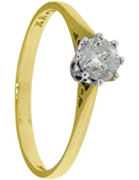 Carissima Gold 18ct Yellow Gold 0.50 ct Diamond Solitaire Ring - Size - L