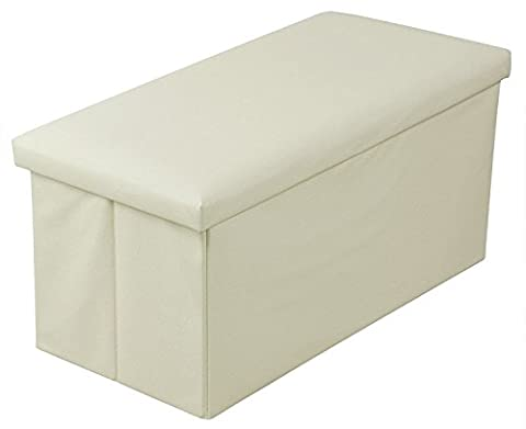 New Large Ottoman Foldaway Storage Blanket Toy Box Bench Faux Leather 17 Designs (Double Cream)