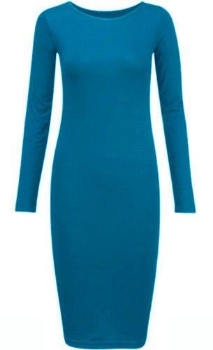 Nouveaux Femmes Grande Taille plaine manches longues Viscose Robe moulante 44-54 Turquoise