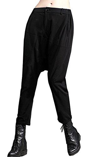 ELLAZHU Damen Elastisch Taille Taschen Schwarz Drape Harem Hose/Trousers DY178