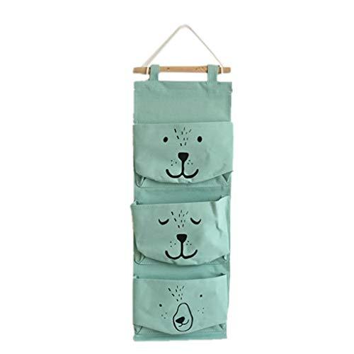 TianranRT Wand montiert 3 Taschen Lagerung Tasche Küche Vorräte Flüssigkeit Systeme Multilayer Taschen (Grün) -