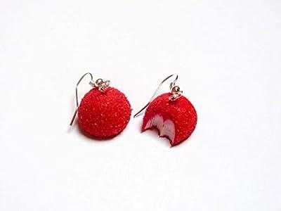 Boucles d'oreilles bonbon fraise bijoux gourmands fimo
