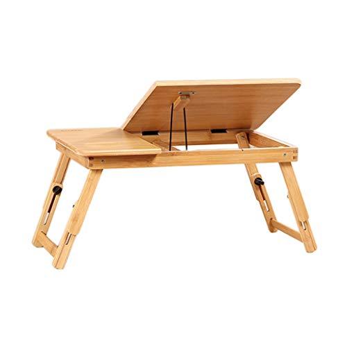 NBgy Side table Massivholz-Studientisch, Laptop-Bettablage, Bett-Computertisch, Medizinischer Tisch, Computer-Klapptisch, Bambus-Holzfarbe, 50 * 30 * 25cm (Farbe : No drawer)