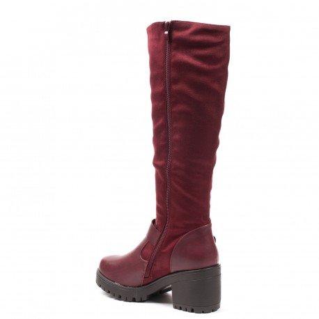 Ideal Shoes - Bottes bimatière à semelle crantée Jihana Rouge