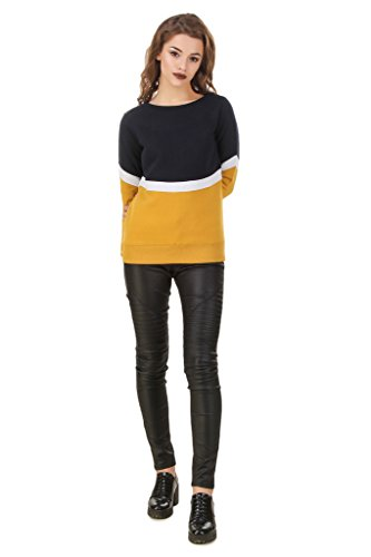 TEXCO Color Block Navy, White & Mustard Sweatshirt