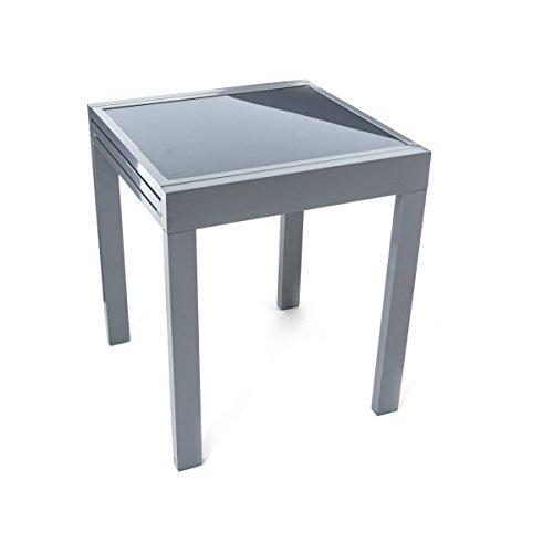 Table en verre à rallonges, pour le jardin, structure en aluminium, gris, long.65(130) x larg.65 x haut.75 cm env.