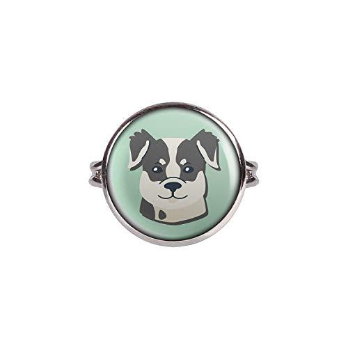 Mylery Ring mit Motiv Hund Border Collie silber 16mm -