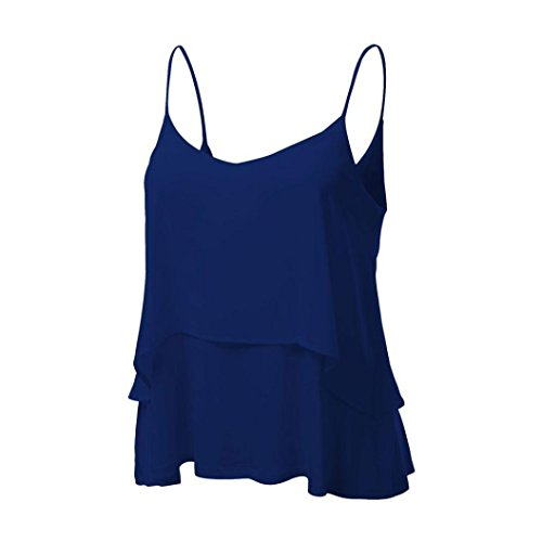 MRULIC Damen T-Shirt Armelloses Top Frauen Verstellbare Schultergurte Runden Hals Leibchen Crop Top(B-Blau,EU-42/CN-XL (Stretch-rugby-shirt Ärmel)