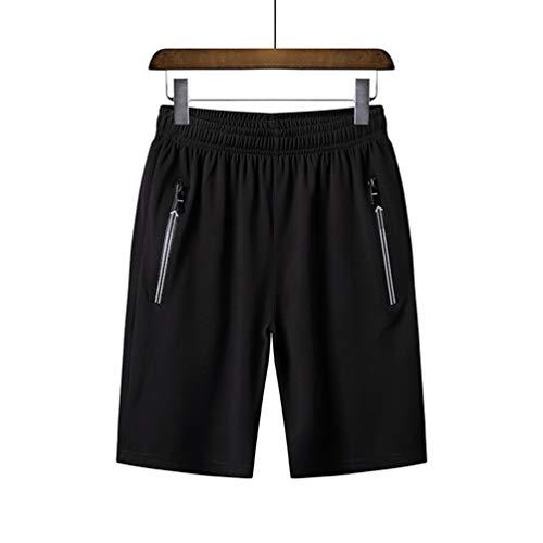 Men\'s Casual Sweatpants Elastische, elastische Taille Weiche und Bequeme hautfreundliche antibakterielle Shorts mit Sicherheits-Reißverschlusstaschen auf beiden Seiten