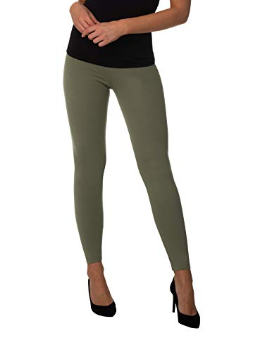 BeComfy Damen Leggings Knöchellang Blickdichte aus Baumwolle Casual Lange Hosen Schwarz Rot Grau Graphit Beige Blau Größe: 36,38,40,42,44,46,48,50,52,54,56 (38 - M, Olivegrün) -