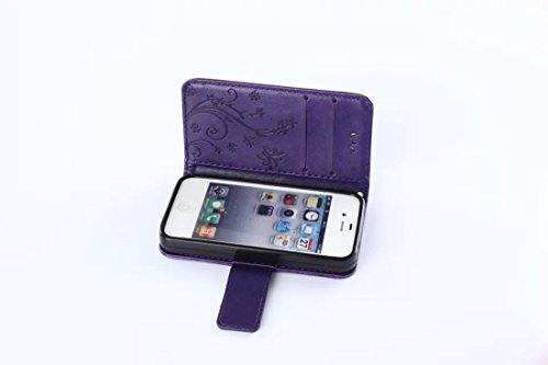 Custodia Apple iPhone 7 - Cover Apple iPhone 7 - DBIT Custodia In PU Pelle Con Flip Cover Per Apple iPhone 7 Custodia Pelle - Grigio Porpora