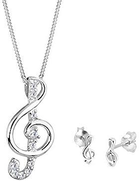 Elli Damen Schmuckset Halskette und Ohrringe Notenschlüssel 925 Sterling Silber Zirkonia Brillantschliff silber...