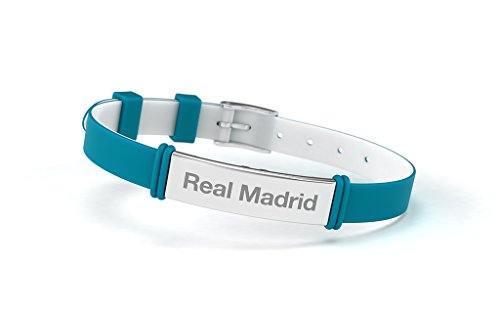 Imagen de pulsera real madrid club de fútbol fashion turquesa ajustable para hombre, mujer y niño. pulsera de silicona y acero inoxidable. producto oficial.