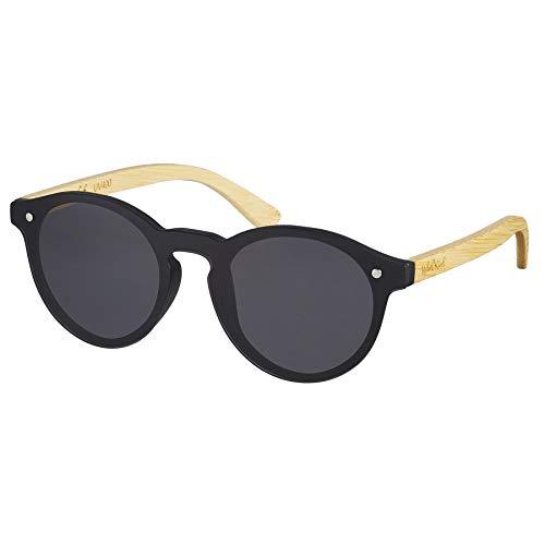 Nebelkind Unisex Runde Kunststoff/Bambus Sonnenbrille mit Bambus Etui Grau One Size