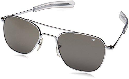 American Optical 30046 Original Piloten-Sonnenbrille, 52 mm, grau getönte Gläser, Silberfarben