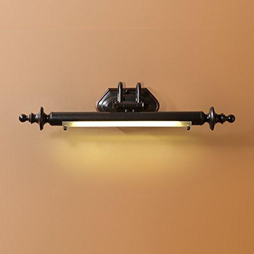 DLewiee Warmes Weiß LED Spiegel Scheinwerfer Badezimmer Vintage Schwarz Kupfer Spiegel Lampe Glas Lampenschirm Bad Eitelkeit Lampe - Schwarz-badezimmer-eitelkeit Spiegel