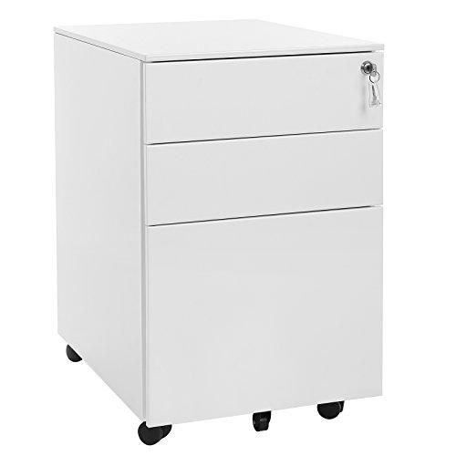 SONGMICS Stahl Rollcontainer mit 3 Schubladen und Hängeregistratur Abschließbarer Büroschrank,...
