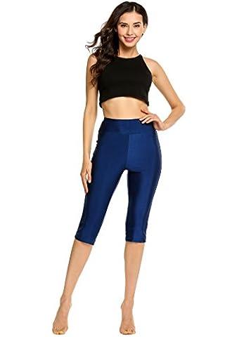 Elesol Women Solid Stretch Tights Skinny Capri Legging Rash Guard for Sport Swim Beachwear Dance