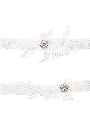 Blulu giarrettiera in pizzo di nozze per strass da sposa set di reggicalze giarrettiera in foglia di fiore con strass e perle