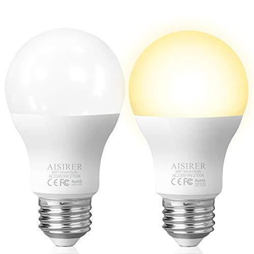Ampoule LED E27 AISIRER Ampoule IntelligenteWiFi Ecologique Compatible Avec Alexa Echo Google Home IFTTT Télécommande Par Smartphone, PasdeHubrequis, 806LM, Blanc Chaud 2700K, 9W, 60W (Lot de 2)