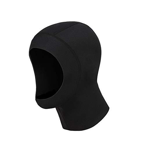 Erwachsene Tauchen Hut Kopf Schnorcheln Warme Winter Schwimmen Neopren Kopfbedeckung 3 MM Verdickung Badekappe (Color : Black, Size : L)