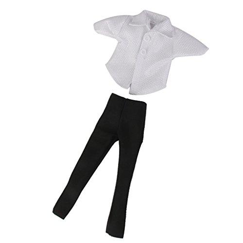 Puppen Kleidung Weiß T-Shirt Und Schwarz Hosen Anzug für Barbie Ken Doll (T-shirts Barbie)