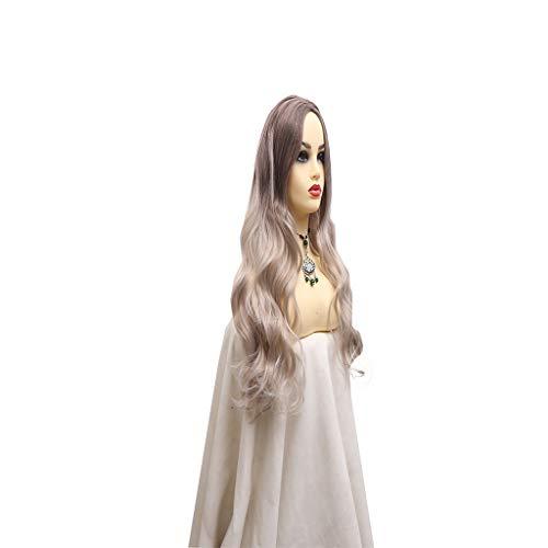 QIANJIN Hochtemperaturdraht Kleines langes lockiges Haar im heißen Verkauf Neue Perücke Mittleres Mikrovolumen Frau Rose Net Hitzebeständige - Elsa Kostüm Für Verkauf