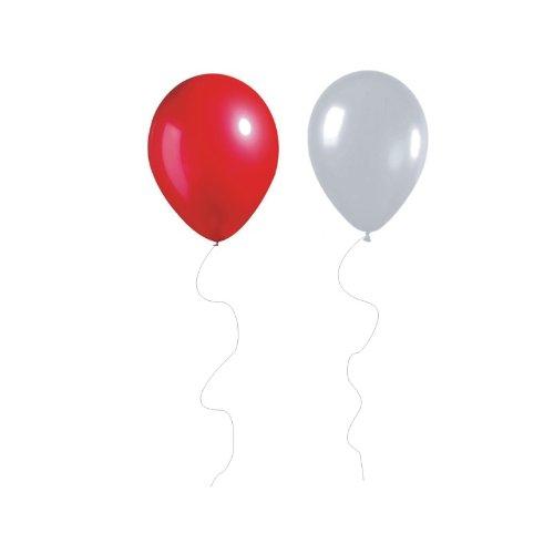 50 Helio Globos Latex rojo metálico y blanco de 12 'de Inglaterra y la Euro 2012