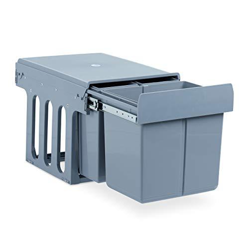 Relaxdays Einbaumülleimer Küche, Auszug, 3-fach Müllsystem Unterschrank, 15 & 8 Liter, Kunststoff, HBT 35x34x48 cm, grau