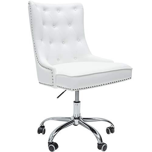 ign Bürostuhl Victorian Lederoptik weiß Drehstuhl mit Armlehne Stuhl höhenverstellbar mit Leichtlaufrollen ()