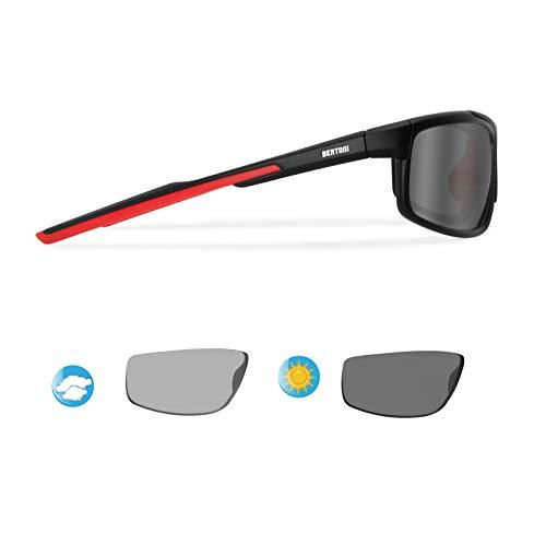 BERTONI Photochrome Selbsttönende Polarisierten Windschutz Sport Sonnenbrillen Fahrradbrille Ski Laufen Golf Running - P180FTC Italy Automatische Scheibentönung Kat 2 bis 3